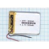 Аккумулятор Li-Pol (батарея) 3*30*40мм 2pin 3.7V/500mAh