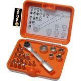 Ключ накидной трещетка TACTIX 900204 с торцевыми головками 23 биты в кейсе