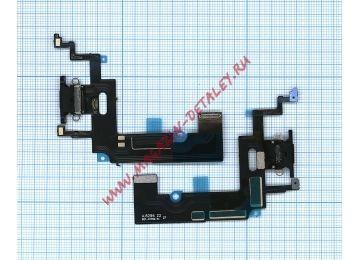 Шлейф для iPhone XR + разъем зарядки + микрофон (черный) - купить в Брянске и Клинцах за 160 р.