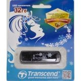 USB флеш-диск 32Гб TRANSCEND Jetflash 350, TS32GJF350, черный+снежинки