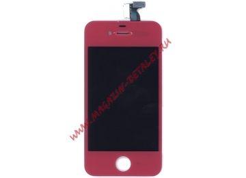 Экран в сборе (матрица + тачскрин) Apple iPhone 4S pink без крепежа